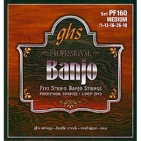 Ghs PF160 Set, 5-str Banj, Ph Br Me Struny